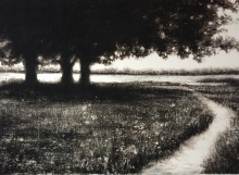 Heather Halpern, Last Stand, Mixed Media charcoal over monotype, Strathmore printmaking paper, The Gallery at the Watershed