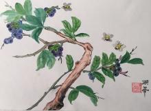 Sandi Grubbs, Buzzing Berries, Chinese brush, Pacific Rim Art Guild