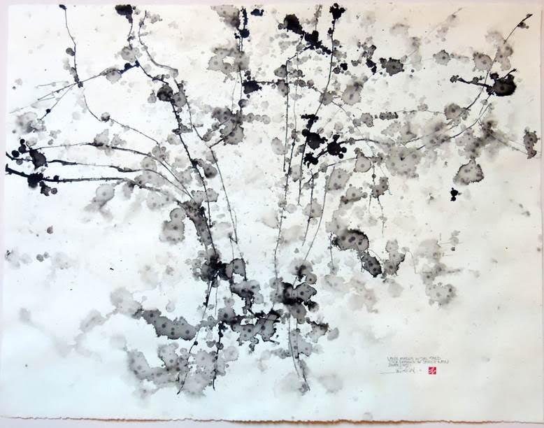 Jamie Newton, Large Maple in the Yard, Stick Drawing with Spring Rain, ink and rain on paper, 2015, White Lotus Gallery